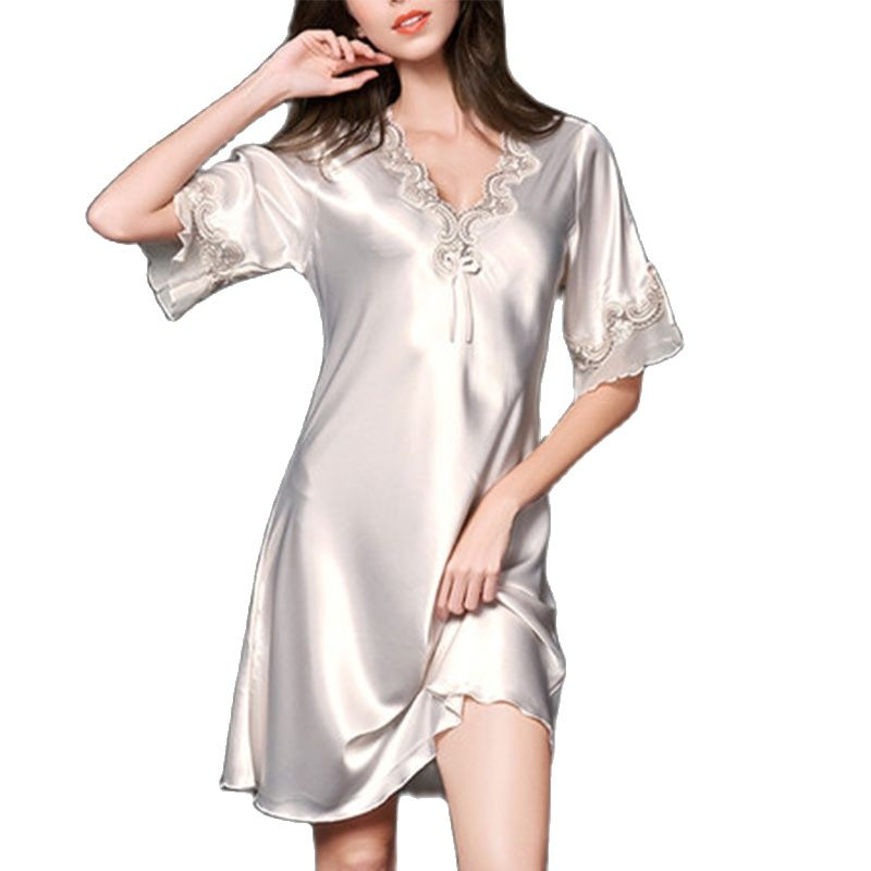 Ms Silk Sleeping Skirt Female Summer Thin Style Sexy Lace Short Sleeve Loose Big Size Can Wear  Pajamas Spring Autumn