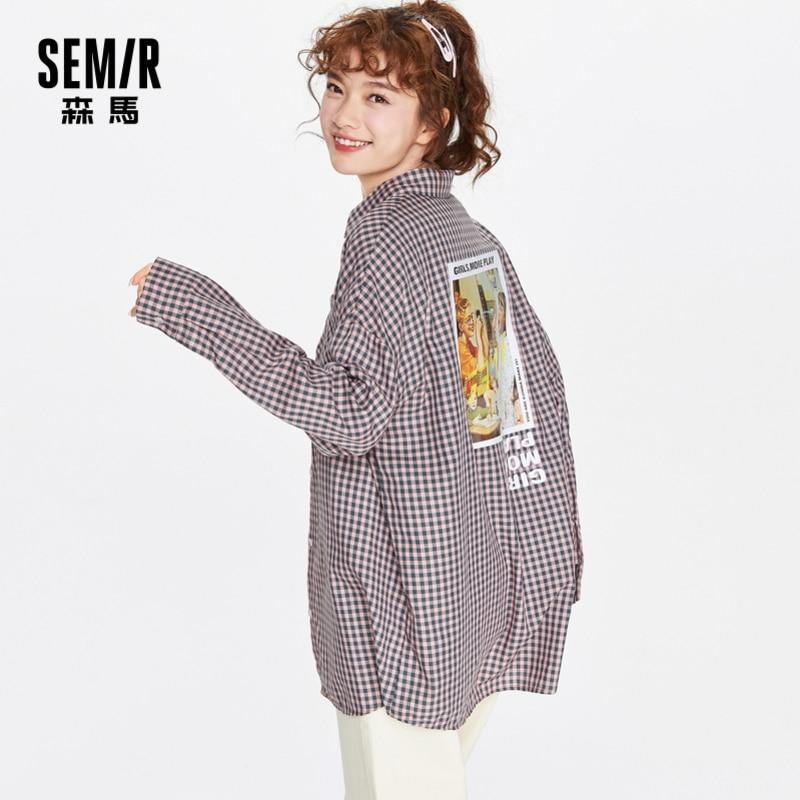 SEMIR Plaid Blouse Women Autumn Spring Loose Embroidery Retro Hong Kong Style Shirts Lantern Sleeve Ladies Long