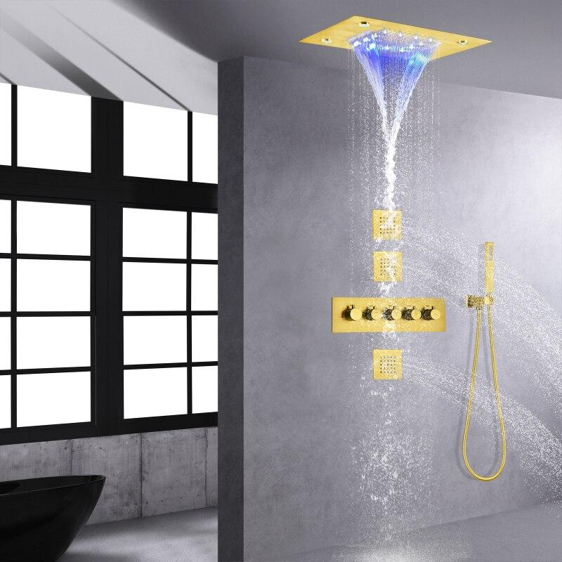 ثرموستاتي نحى الذهب دش نظام صنبور الحمام 14X20 بوصة Ceil شنت حمام LED شلال المطر دش رئيس