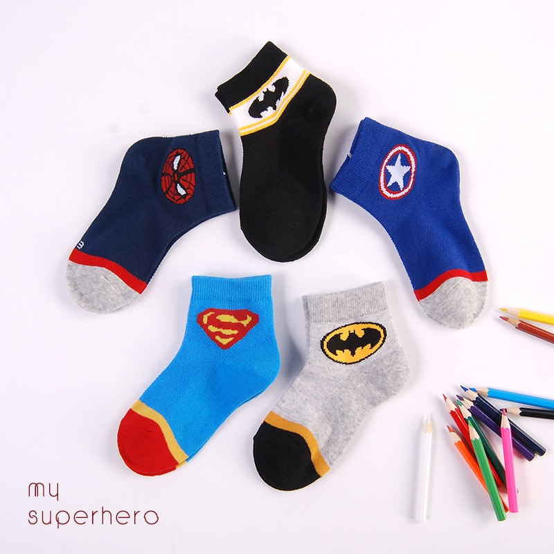 Disney boys and girls baby socks spring and summer mesh college socks superman spiderman superhero c