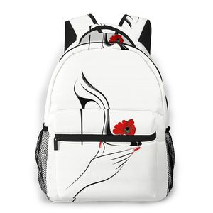 Women backpack male travel backpack mens bag large laptop shopping travel bag Hand Holding High Heel Shoe With Decorative Flower