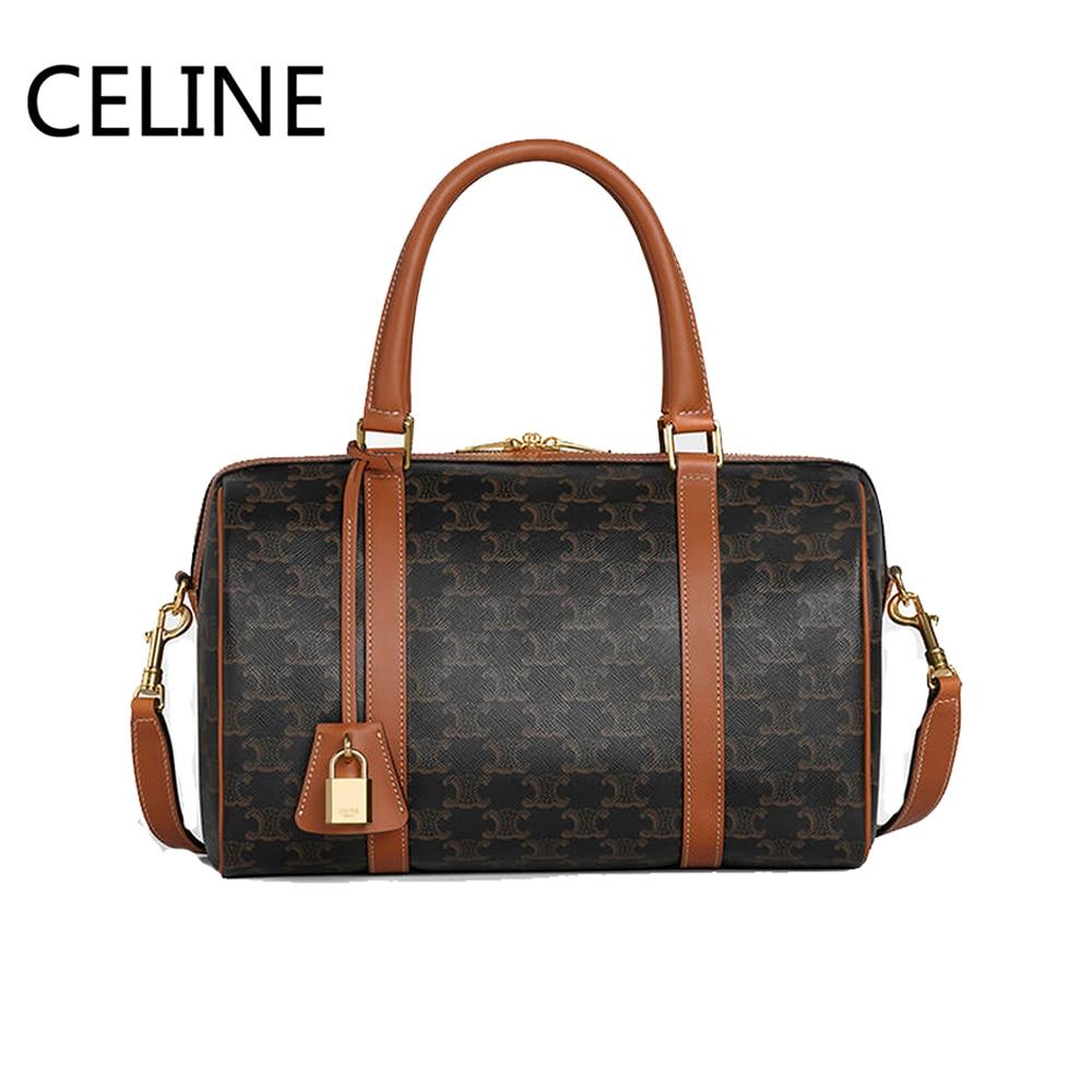 Celine triomphe lona boston sacos fecho com fecho ajustável alça de couro cadeado viagem bolsas sacos de ombro 190372bzj.04lu