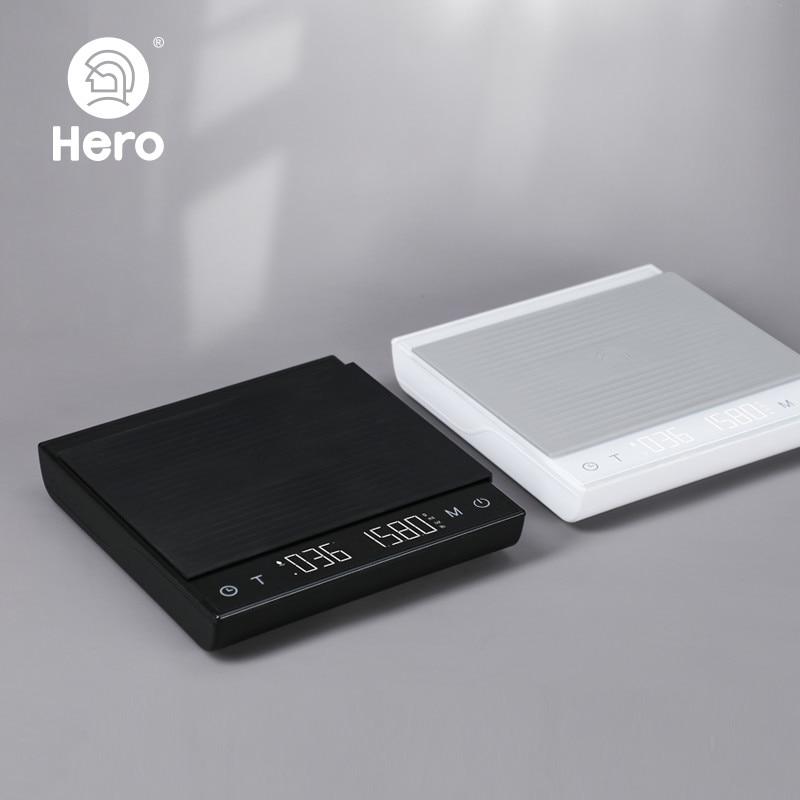 Hero القهوة ميزان إلكتروني صب القهوة الإلكترونية بالتنقيط مقياس القهوة مع الموقت 2 كجم/0.1 جرام LED مقياس المطبخ الذكية