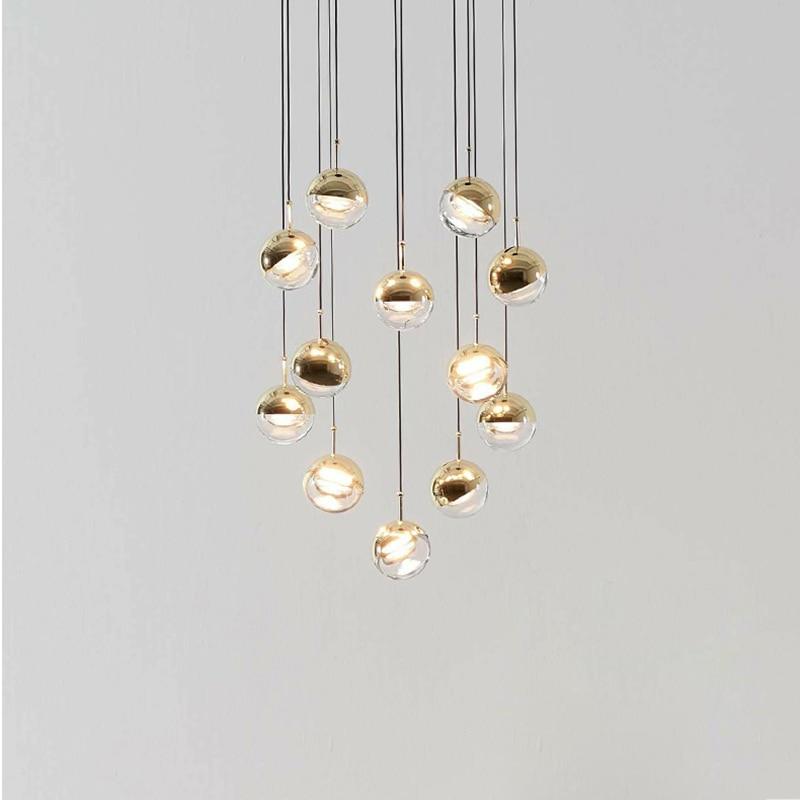 Nordic simple glass ball single head pendant lamp modern restaurant decoration DIY combination LED lighting rose gold plating