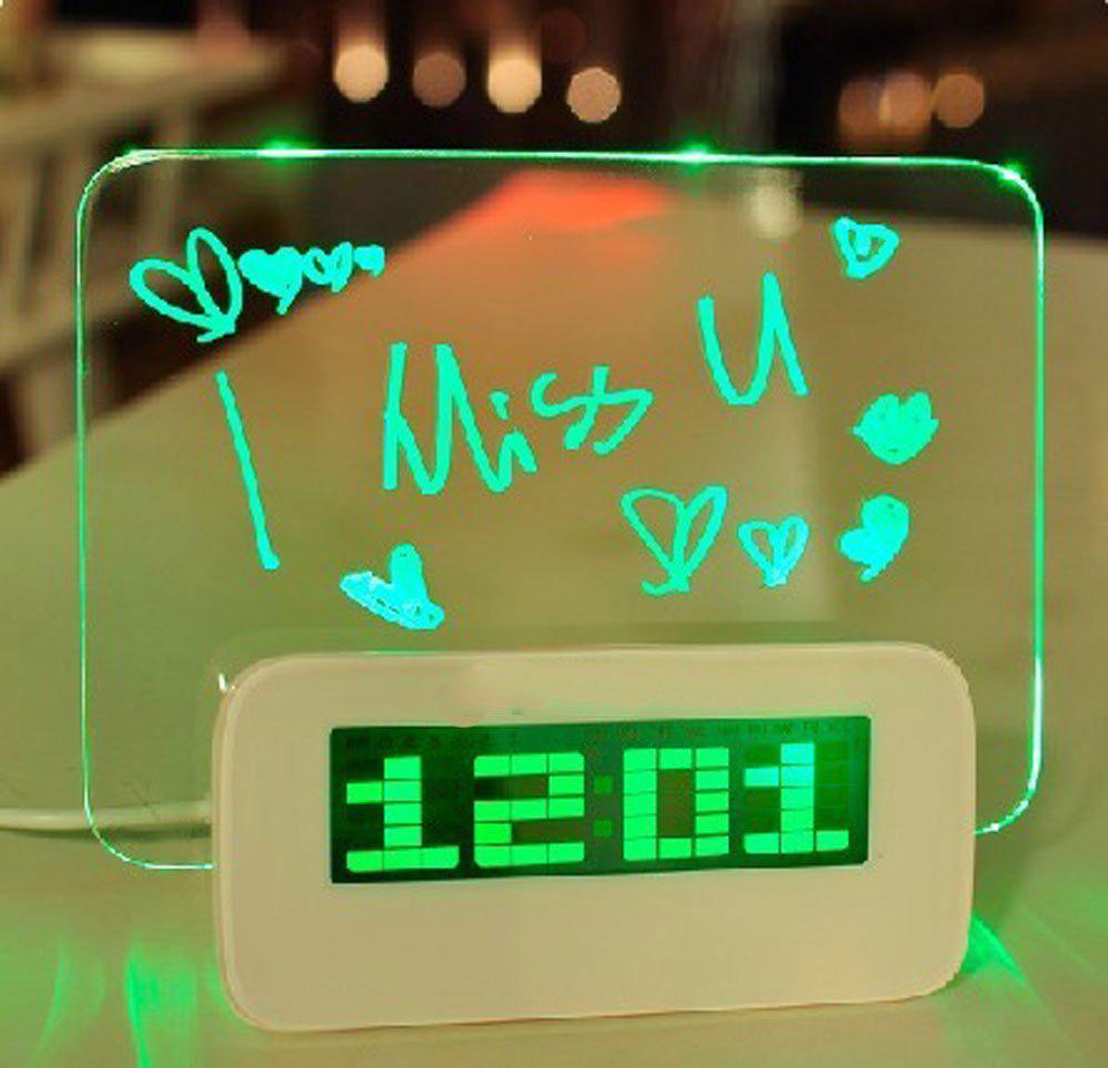 DishyKooker ordenador HIGHSTAR azul LED luminoso tablero de mensajes reloj de alarma Digital con 4 puertos USB Hub Calendario de temperatura