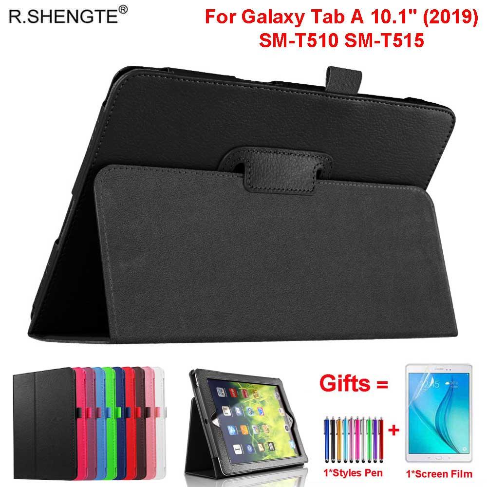 Ligero Flip de cuero para Samsung Galaxy Tab 10,1 caso de 2019 modelo SM-T510 SM-T515 Fundas casos con pluma + película