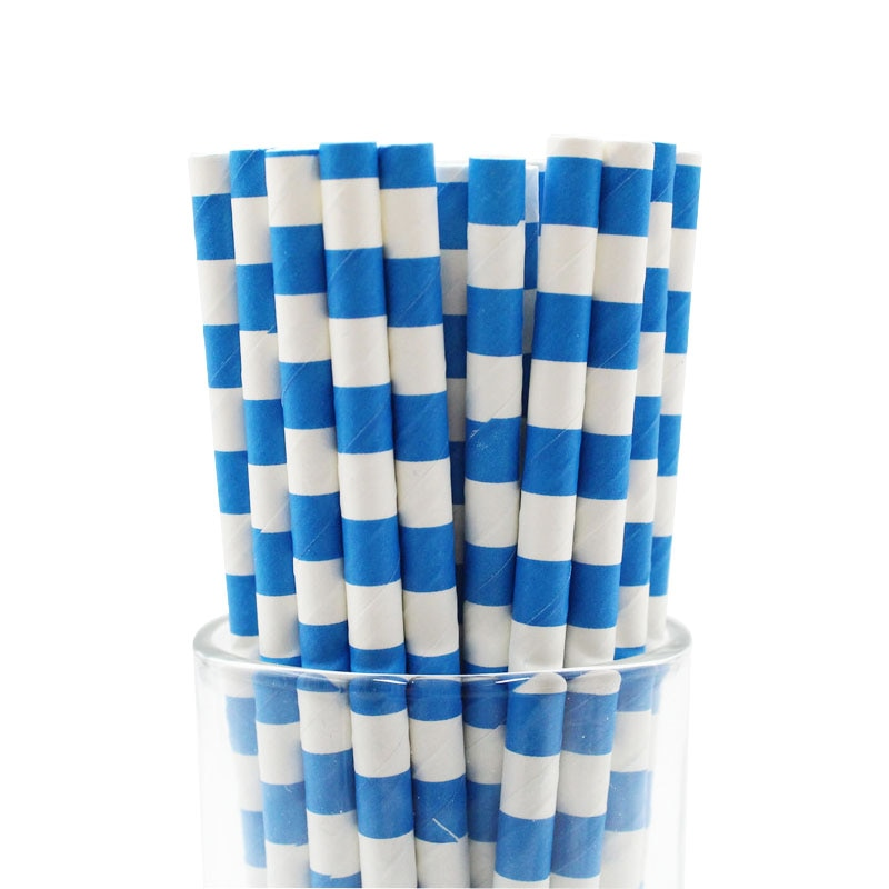25 pçs/lote azul profundo diposable palhas decoração do casamento fontes festa de aniversário casamento festa de halloween papel bebendo palha