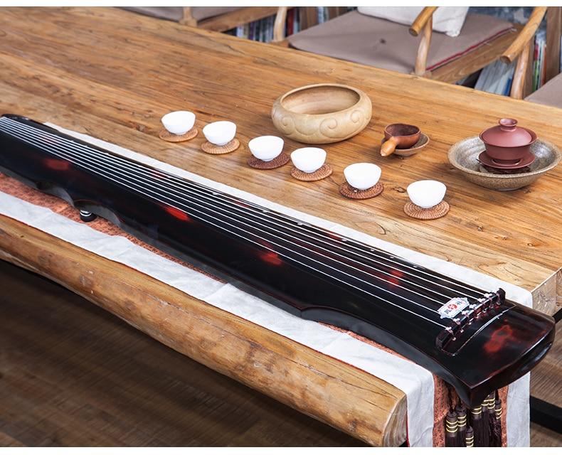 Cinabrio chino guqin fu xi tipo Lyre chino 7 cuerdas antiguo Zither instrumento Musical chino zither 7 cuerdas Guqin chino