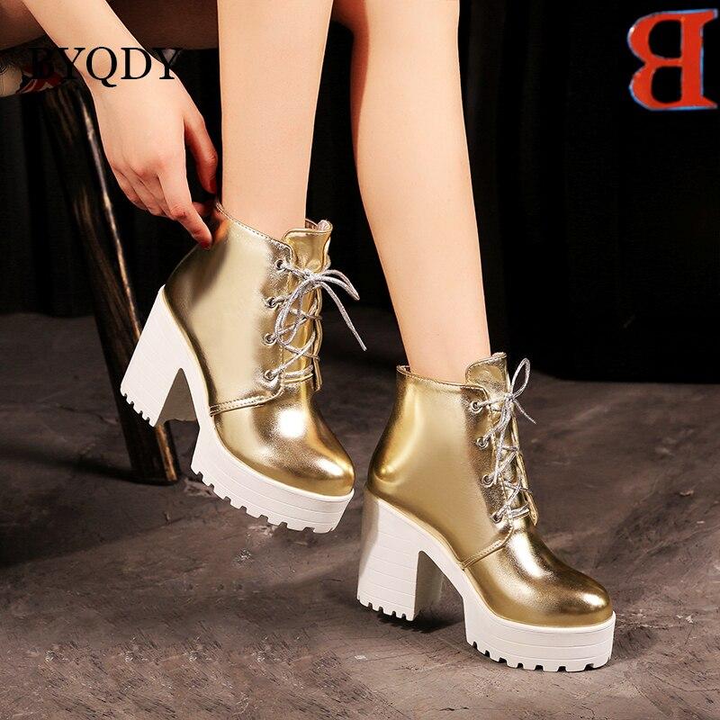 BYQDY, zapatos para damas de oficina a la moda, plataforma con cordones, botas para mujer, tacón grueso, zapatos individuales de tacón alto, de talla grande, promoción 34-44