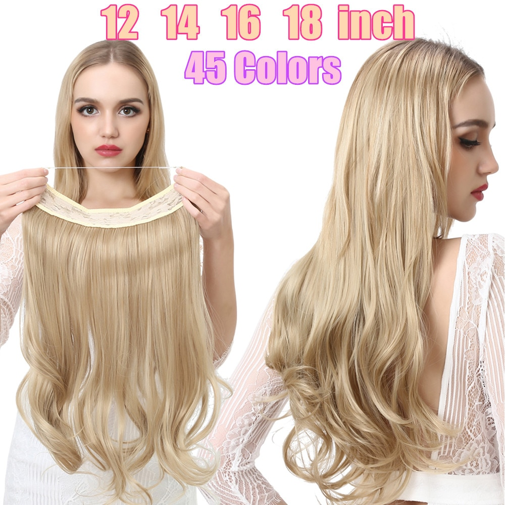 Synthetic One Piece Halo Hair Extensions No Clip In Natural Wave Fake Hair Piece Blonde Black Brown Curly False Hair Hairpiece