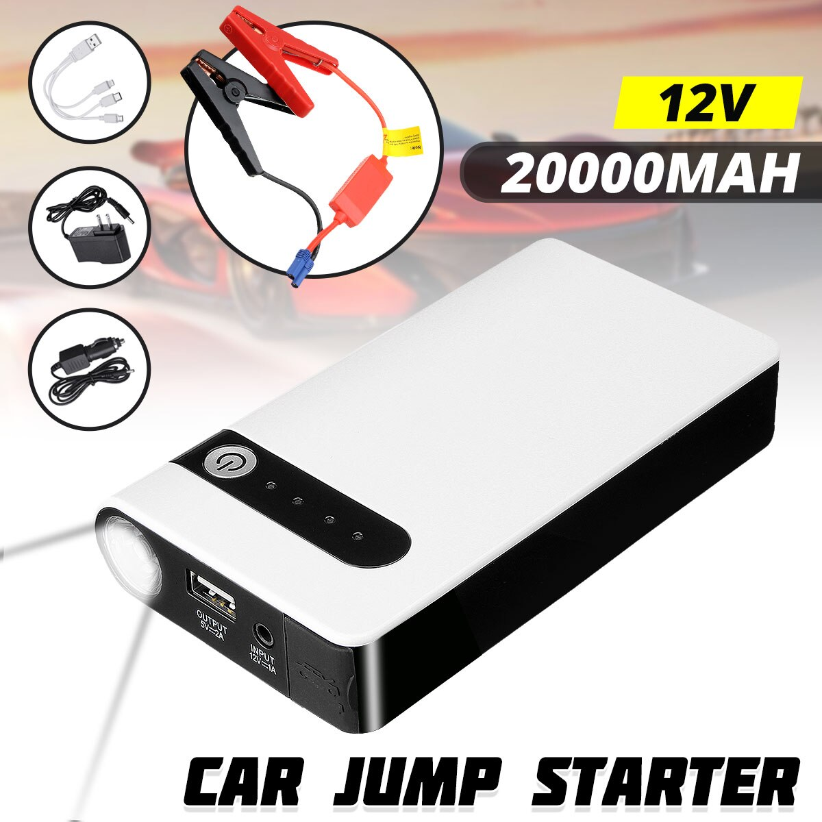 20000mAh 12V Portable Car Jump Starter Emergency Battery Booster Powerbank Car Charger with LED Flas