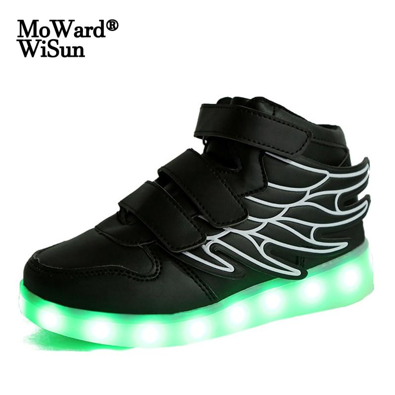 حجم 22-37 الأطفال مصباح LED متوهج أحذية الفتيان الفتيات أجنحة أحذية رياضية مع الخلفية USB Charged مضيئة مضاءة أحذية للفتيات الاطفال