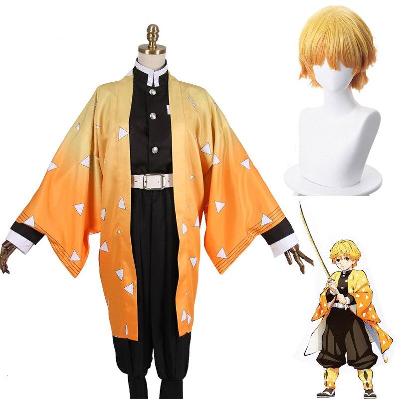 Anime Demon Slayer Cosplay Kimetsu No Yaiba Cosplay Costumes Agatsuma Zenitsu Uniform Wigs Mens Kimono Halloween Costumes CS003