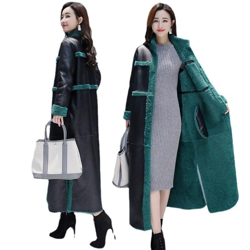 Iamb-ملابس نسائية على الوجهين ، ملابس مخملية سميكة عصرية من جلد البولي يوريثان ، سترة رفيعة ، خريف وشتاء