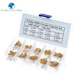 300pcs valor 10 50v 47pf 56pf 68pf 20pf 30pf 10pf 100pf 1nf 10nf 100nf Multilayer Ceramic Capacitor Kit Sortido