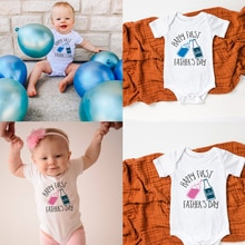 Happy First Father's Day s Bodysuit Funny Beer Baby Shirt Father's Day Gift Summer Short Sleeve Jump