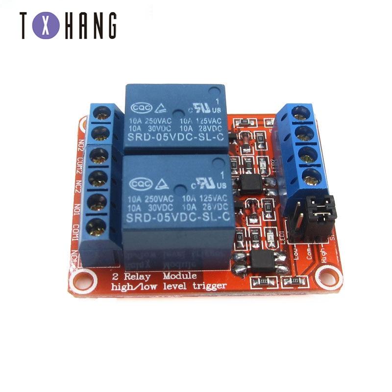 Bouclier de carte de module de relais à 2 canaux 5V avec optocoupleur pour condensateurs de tantale déclenchés de haut et bas niveau à Arduino