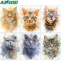 AZQSD     kit de broderie de chat  peinture artistique en diamant  strass  point de croix  Animal  couture  decoration de maison  cadeau