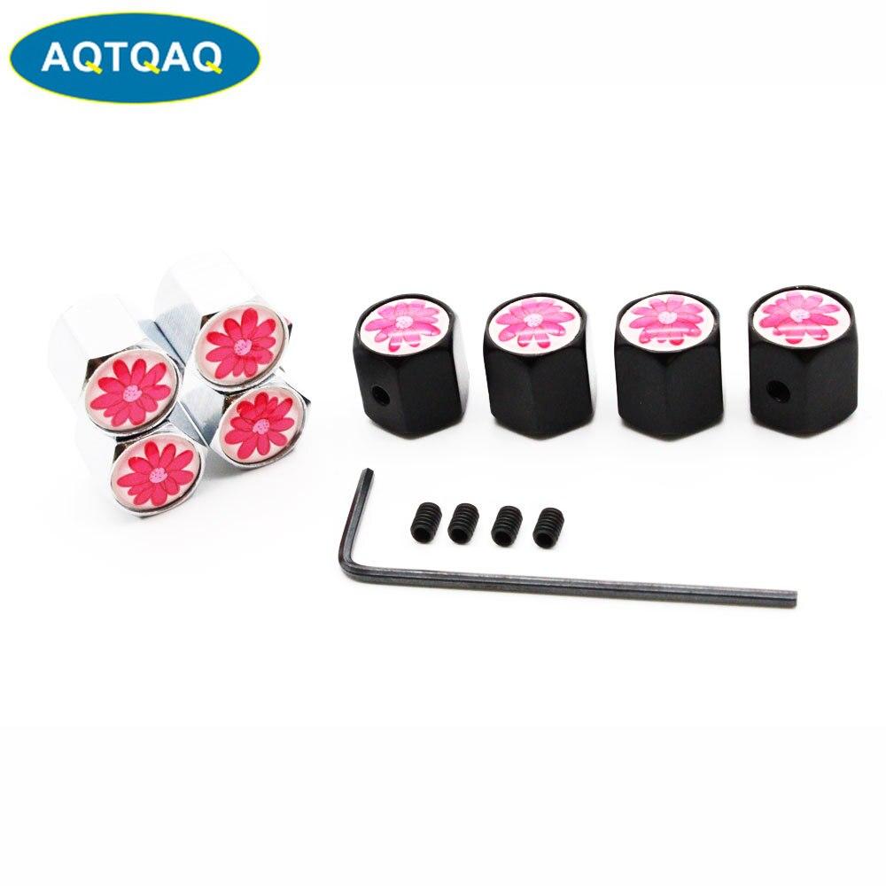 5 Pcs/Set Car Styling Zinc Alloy Anti-theft Red Flower Logo Car Tire Valve Caps Wheel Tires Tire Stem Air Cap Airtight Covers