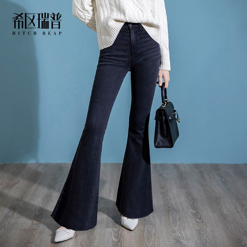 High End Jeans Women'S Straight Tube Loose 2020 New Autumn And Winter Black Micro Speaker Slim
