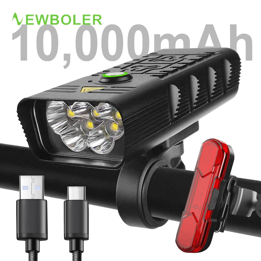 NEWBOLER Powerful 10,000mAh Bicycle Light 5 Leds USB Rechargeable T6 Bike Light Flashlight MTB Cycling Accessories as Power Bank
