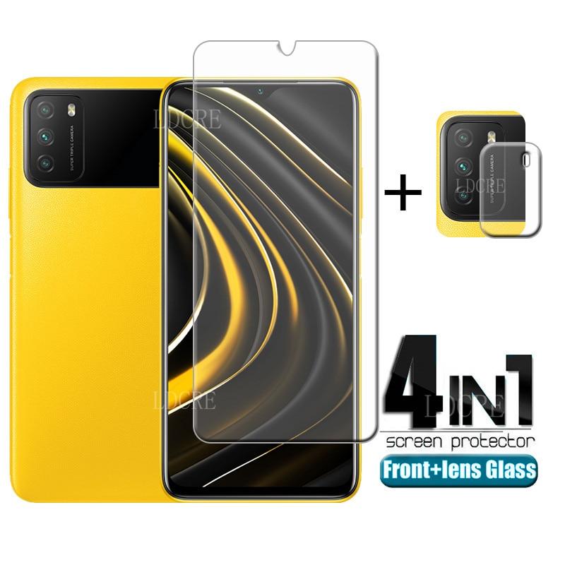 4 인 1 샤오미 포코 M3 유리 강화 유리 화면 보호기 노트 9 프로 레드미 9 A C 포코 X3 M3 F3 렌즈 유리, Xiaomi Poco M3