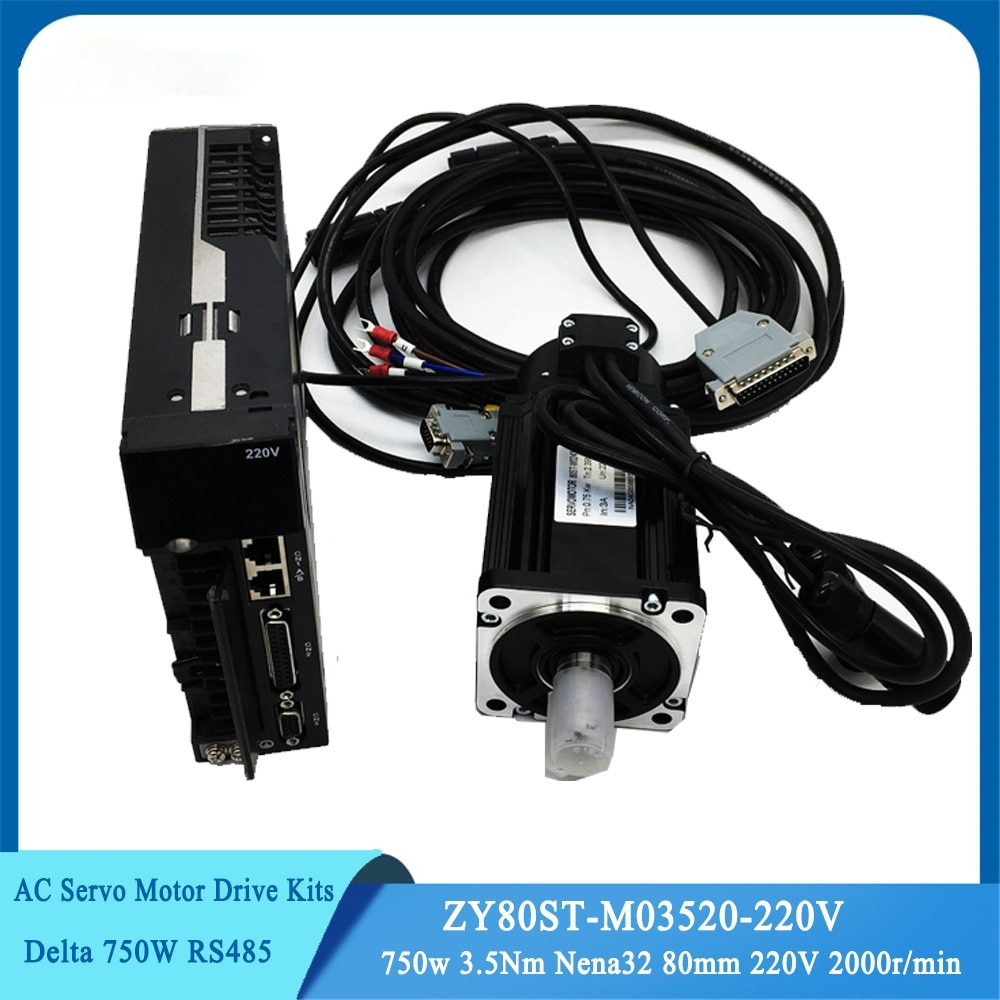 AC Servo Motor Kits 750w 3.5Nm Nema32 80mm 220V 2000r/min Modbus RS485...