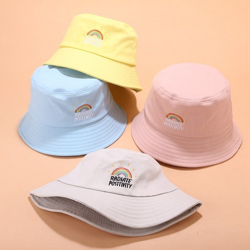 Sombrero de cubo bordado plegable Unisex, estampado de arco iris, protector solar para exteriores, sombrero de pescador de gorra, sombreros