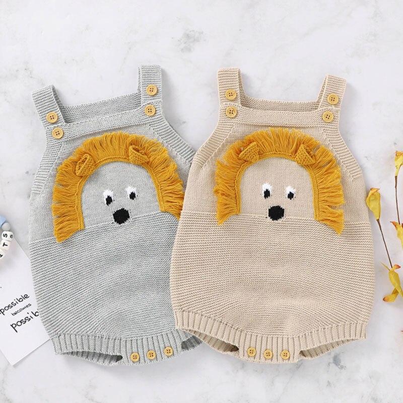 Outono inverno infantil bebê macacão recém-nascido do bebê menino menina bonito leão cabeça suspensórios roupas macacão bebê meninos meninas de malha