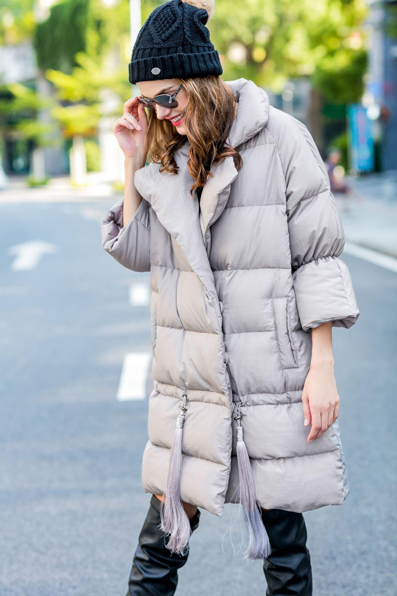 Women down coats luxury autumn winter warm fashion 90% white duck down Jackets Female lady long puffer hooded casual grey