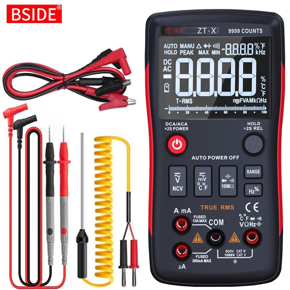 رقمي متعدد اختبار 9999 BSIDE ZT-X الثلاثي عرض درجة الحرارة الفولتميتر ACDC الجهد NCV OhmHz ديود السعة