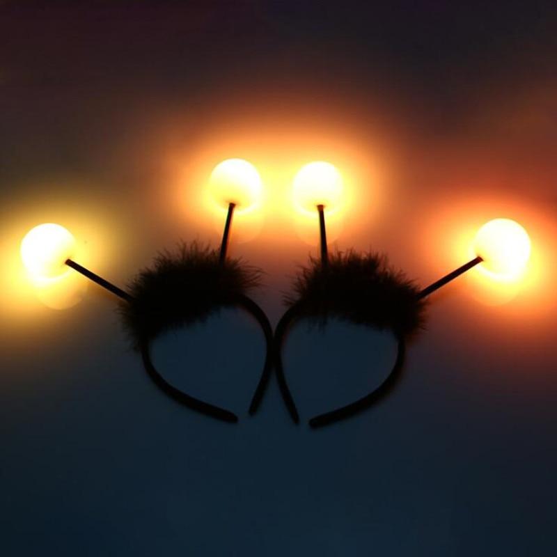 Перо Антенна в виде пчелы светодиодный светильник мигающий ободок для женщин и мальчиков и девочек аксессуар для волос для Хэллоуина