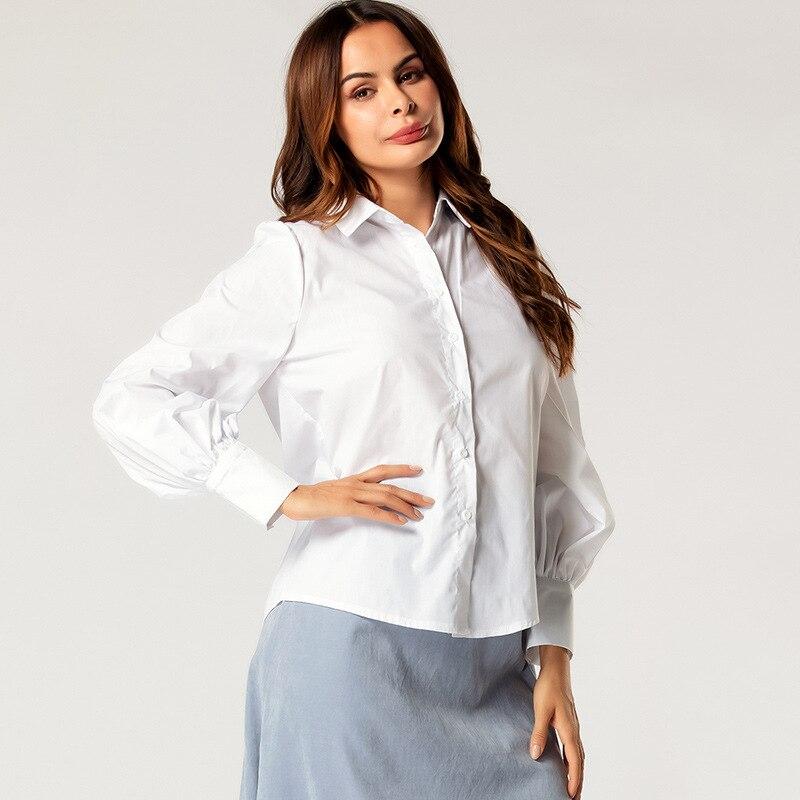 Blanco Turn Down Collar Front Button mujer blusa linterna de manga larga suelta Causal camisetas de otoño primavera blusa
