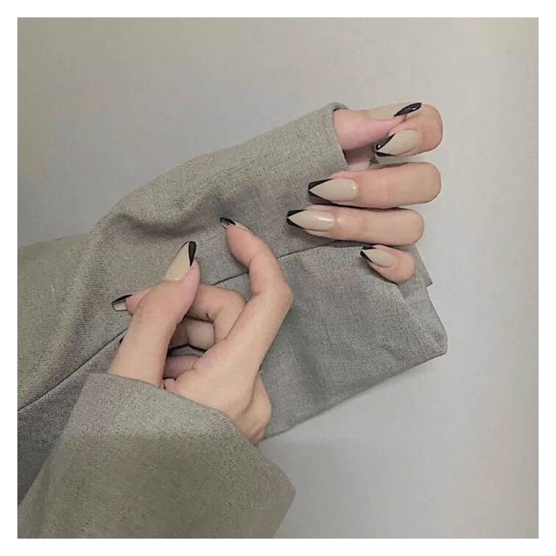 24pcs/Set French Ballet Coffin Fake Nails Natural Nail Tips UV Gel Glue False Fingersnails Extension False Nail Art Tool  - buy with discount