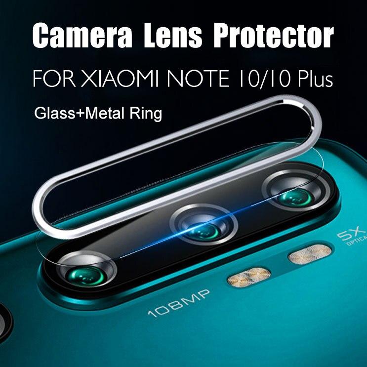 Para Xiaomi mi Note 10 Pro 10 Plus 10 + 10Pro 10 Plus CC9 Pro CC9Pro película de vidrio templado + cubierta de anillo de protección de lente trasera de Metal