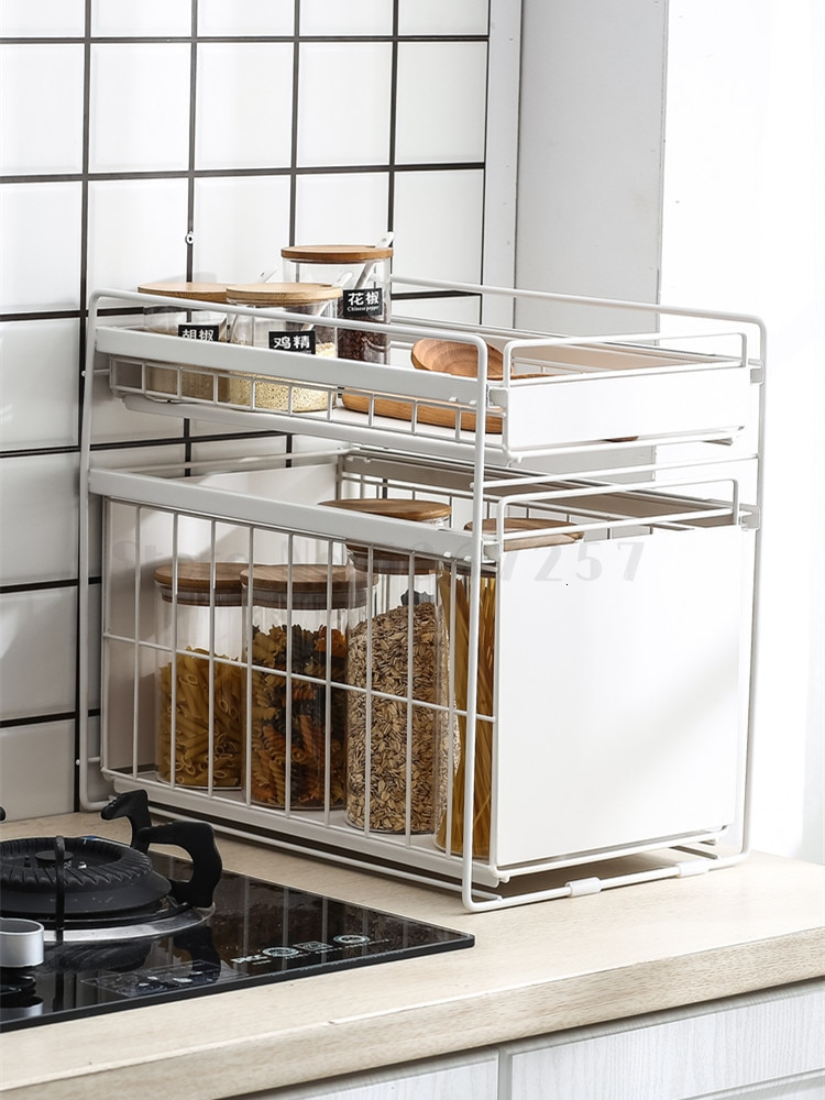 Xionggu Group Japanese iron drawer kitchen storage rack under the sink shelf cabinet storage rack finishing shelf