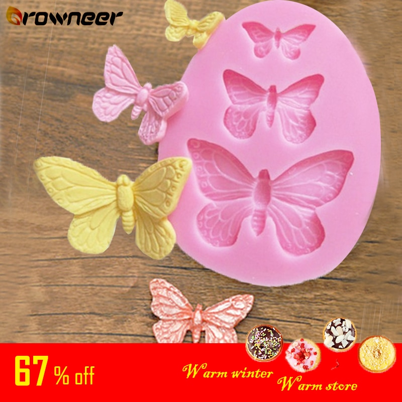 Butterfly Mold Silicone Baking Accessories 3D DIY Sugar Craft Chocolate Cutter Mould Fondant Cake Decorating Tool 3 Colors