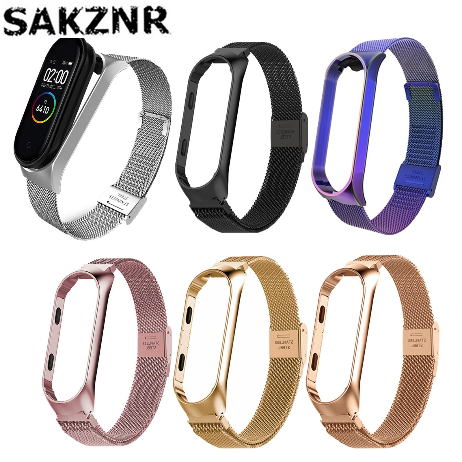 Fashion Metal Strap for Xiaomi Mi Band 5 4 3 Watch Strap Men Women Straps Bracelets Stainless Steel Wristband For Mi Band 4 5 3
