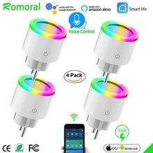 16A EU RGB wifi 스마트 플러그, 전원 모니터, wifi 무선 스마트 소켓 콘센트, Google 홈 Alexa 음성 제어