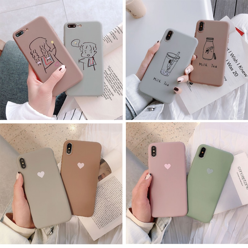 TPU Phone Case For iPhone XR XS Max 7 8 6 6S Plus SE 2020 12 mini Heart Cartoon Milk Tea Cover For i