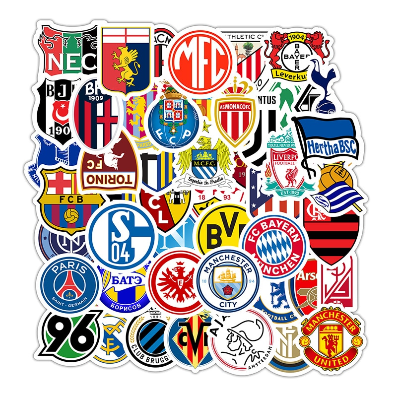 50Pcs Football League Club Logo Stickers Waterproof Vinyl Diy Refrigerator Phone Skateboard Car Acce