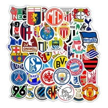 50Pcs Football League Club Logo Stickers Waterproof Vinyl Diy Refrigerator Phone Skateboard Car Acce
