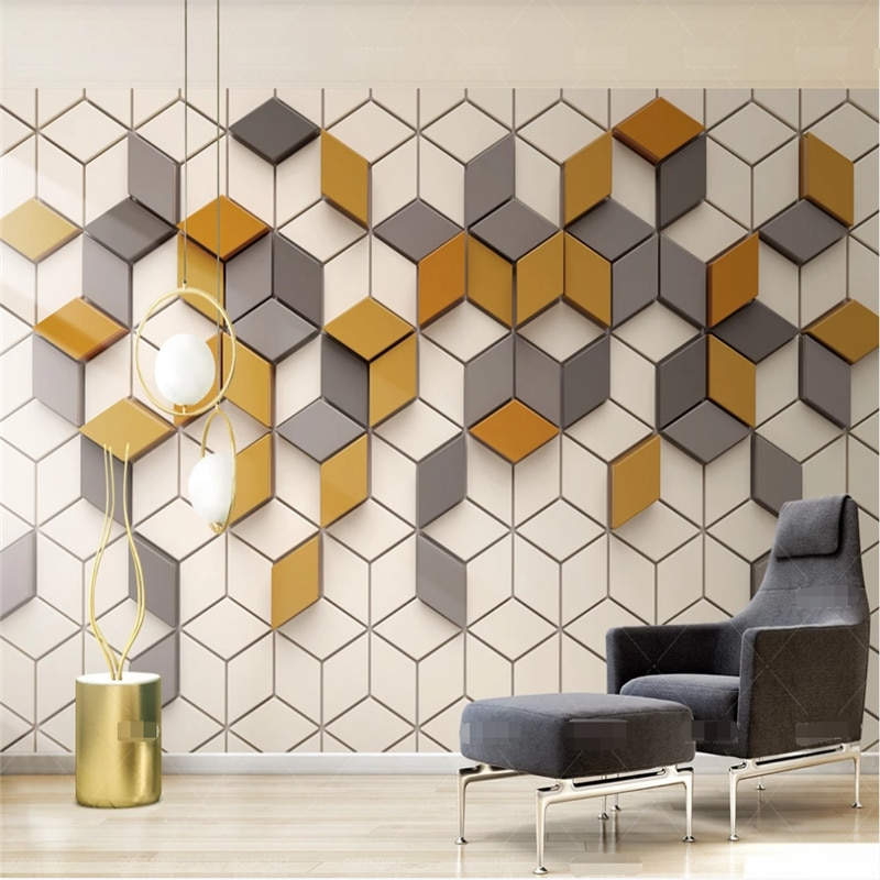 Xuesu Simple ginger yellow mosaic modern 3d TV background wall custom bedroom 8d mural слингобусы mosaic simple