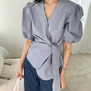 ZCSMLL Korean chic summer V-neck blouse cross straps waist irregular puff sleeve women shirt women 2021 fashion tide