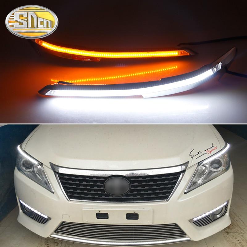 2PCS Car Headlight Eyebrow Decoration Yellow Turn Signal DRL LED Daytime Running Light For Toyota Camry V50 XV50 2012 2013 2014