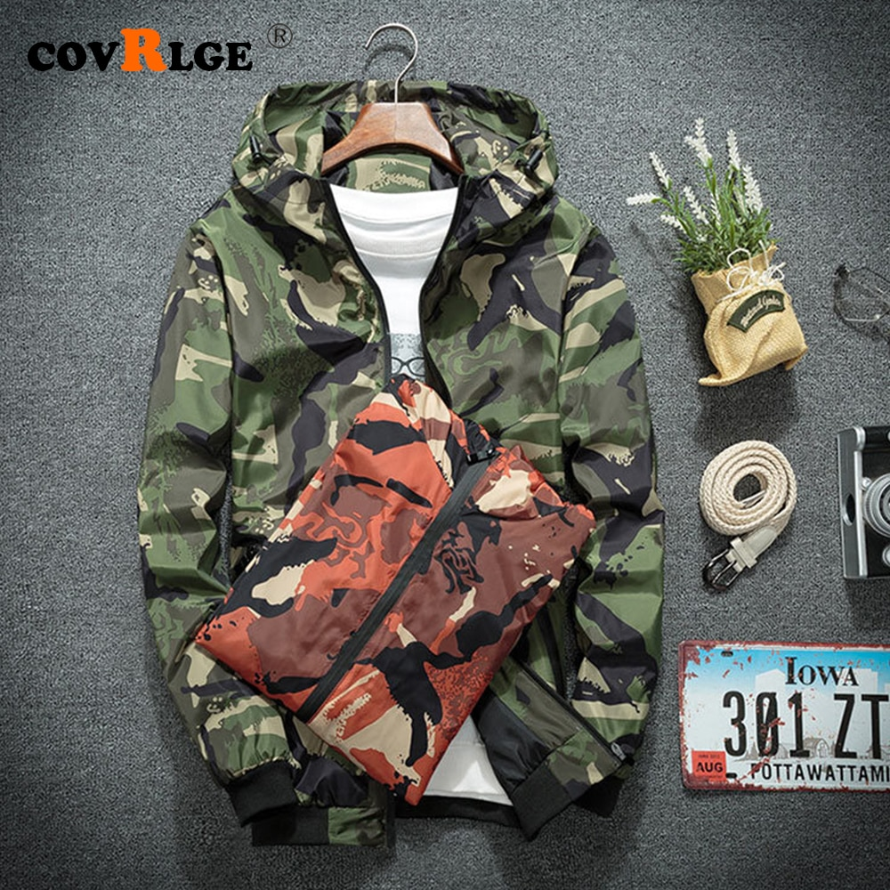 Windbreaker Jackets Men Casual Spring Hooded Camouflage Jacket Mens Streetwear Hip hop Sportwear Camo Army Jacket Clothes MWJ209 men zip camo hooded jacket