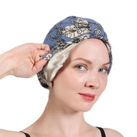 new ethnic style scarf cap lined with satin chemotherapy cap nightcap double layer warm headband cap lady printed hijab cap