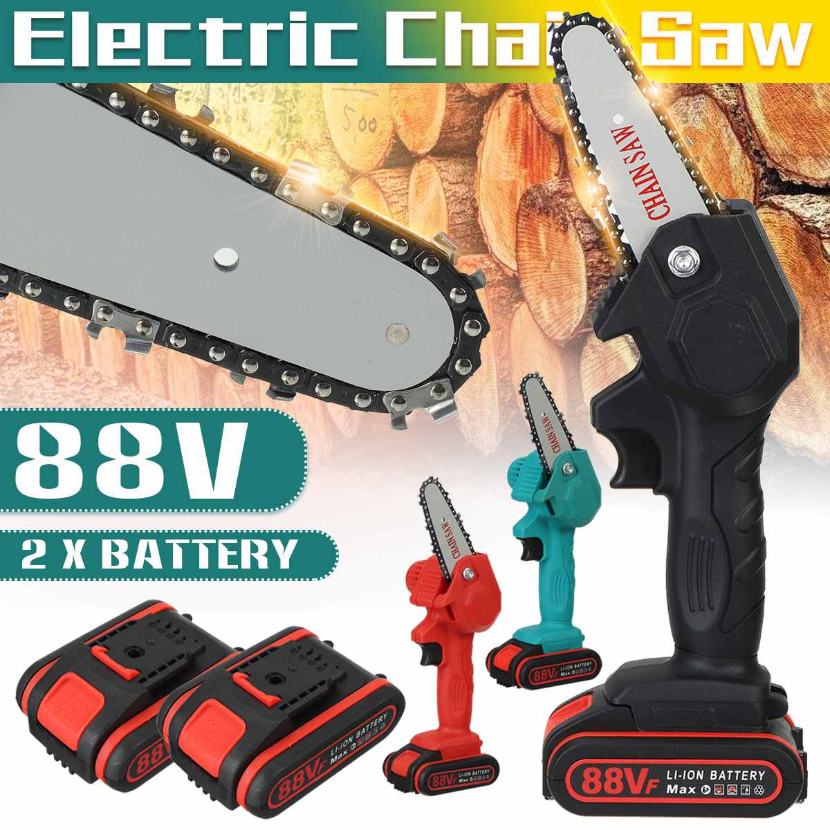 1080W 4インチ88Vミニ電気チェーンソー、2pcバッテリーの木工および剪定、充電式ガーデンツール、EUプラグ付き