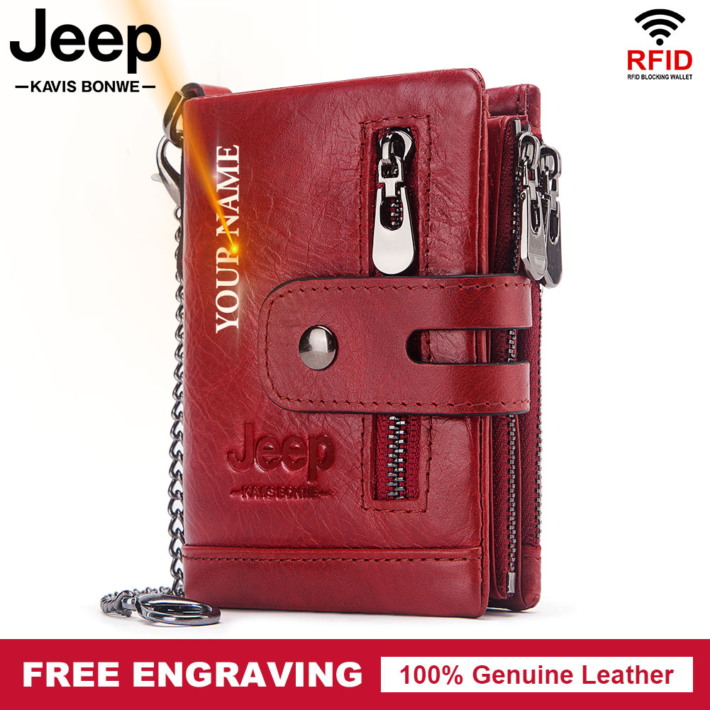 Модный женский кошелек из натуральной кожи, двойной складной бумажник с рчид, маленький дамский кошелек красного цвета для удостоверения личности, кредитница с двойной молнией