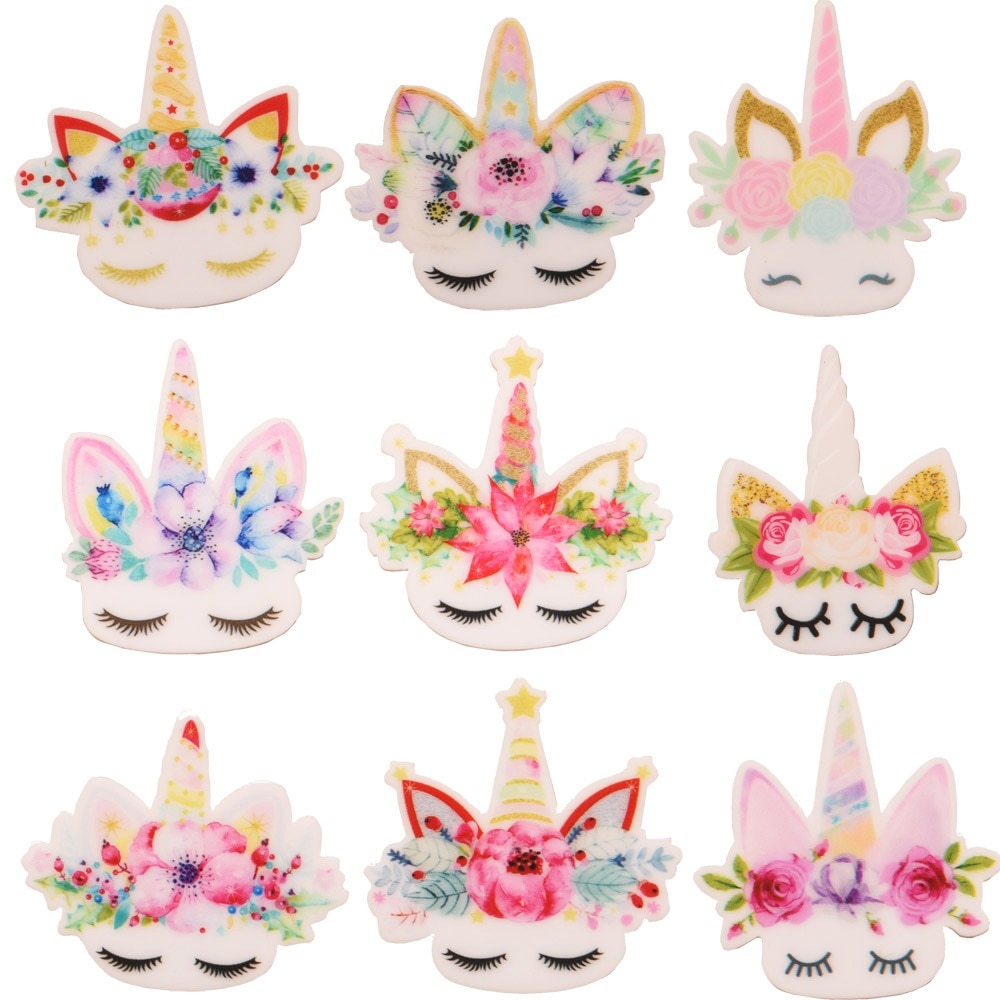 Accesorios para el cabello de unicornio de resina Planar de Cabeza de unicornio de moda de 20 piezas